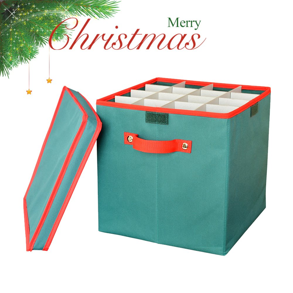Get Quotations · Foldable Christmas Ornament Storage Box, DiDaDi Holiday Xmas  Tree Decorations Bin Chest With Lid U0026