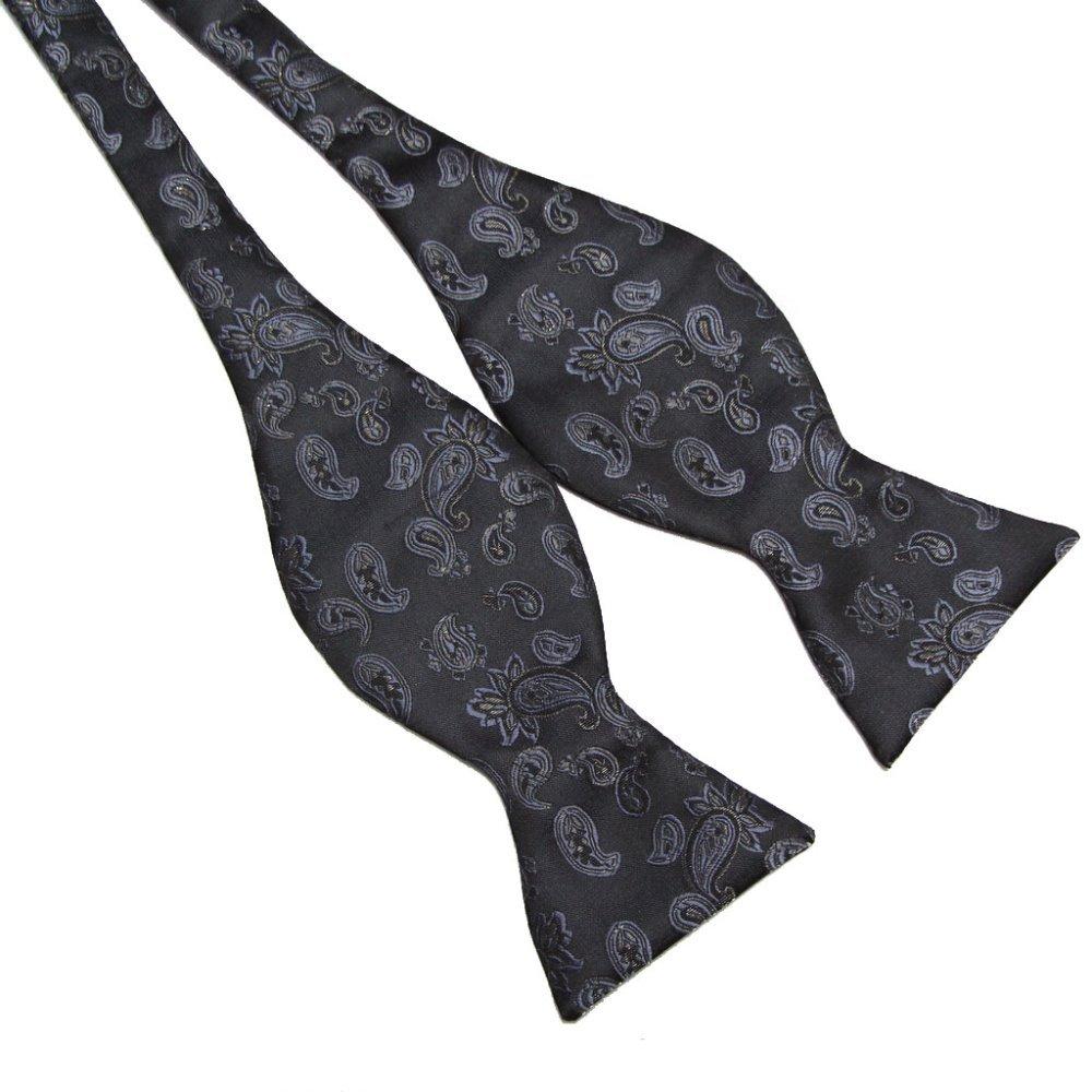 Men Butterflies Black Tie Paisly Floral Self Tie Bow Tie