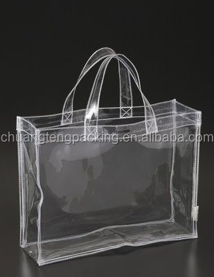 Promotion clear pvc cosmetic plastic handle bag vinyl clear pvc tote bags