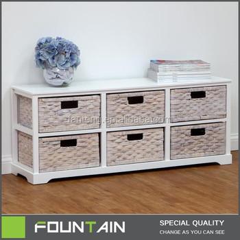 Luxury Home Display Shelf High Gloss White 6 Cube Wicker Furniture MDF Wood  Storage Furniture