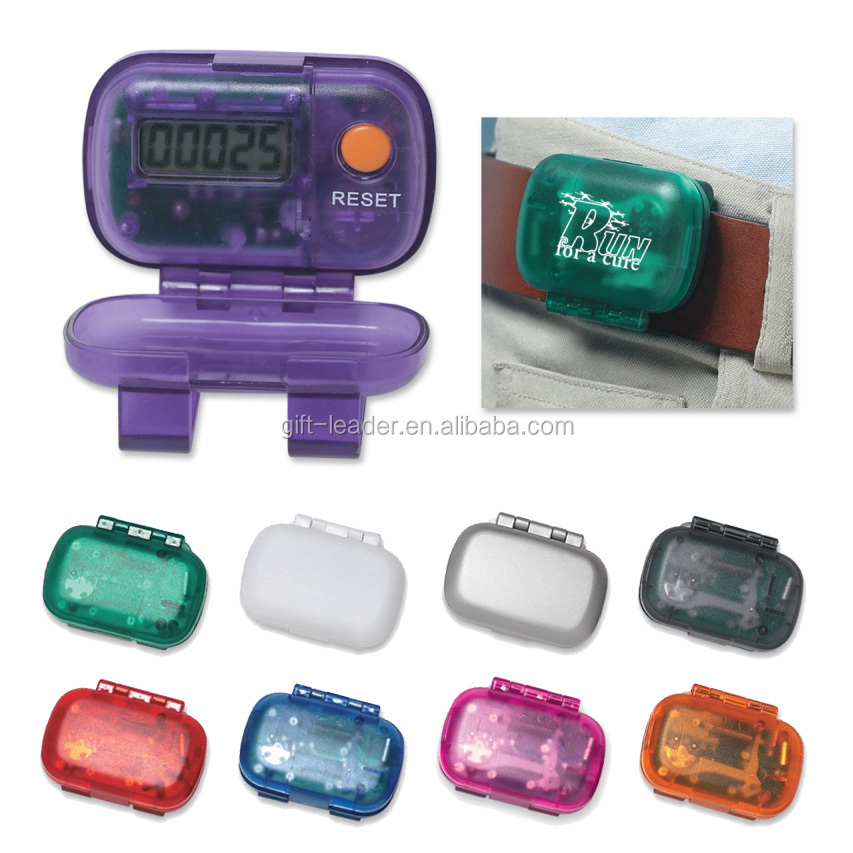 Innovated gift free sample pocket size branded logo square plastic mini cute smart belt clip LCD screen digital sport step count