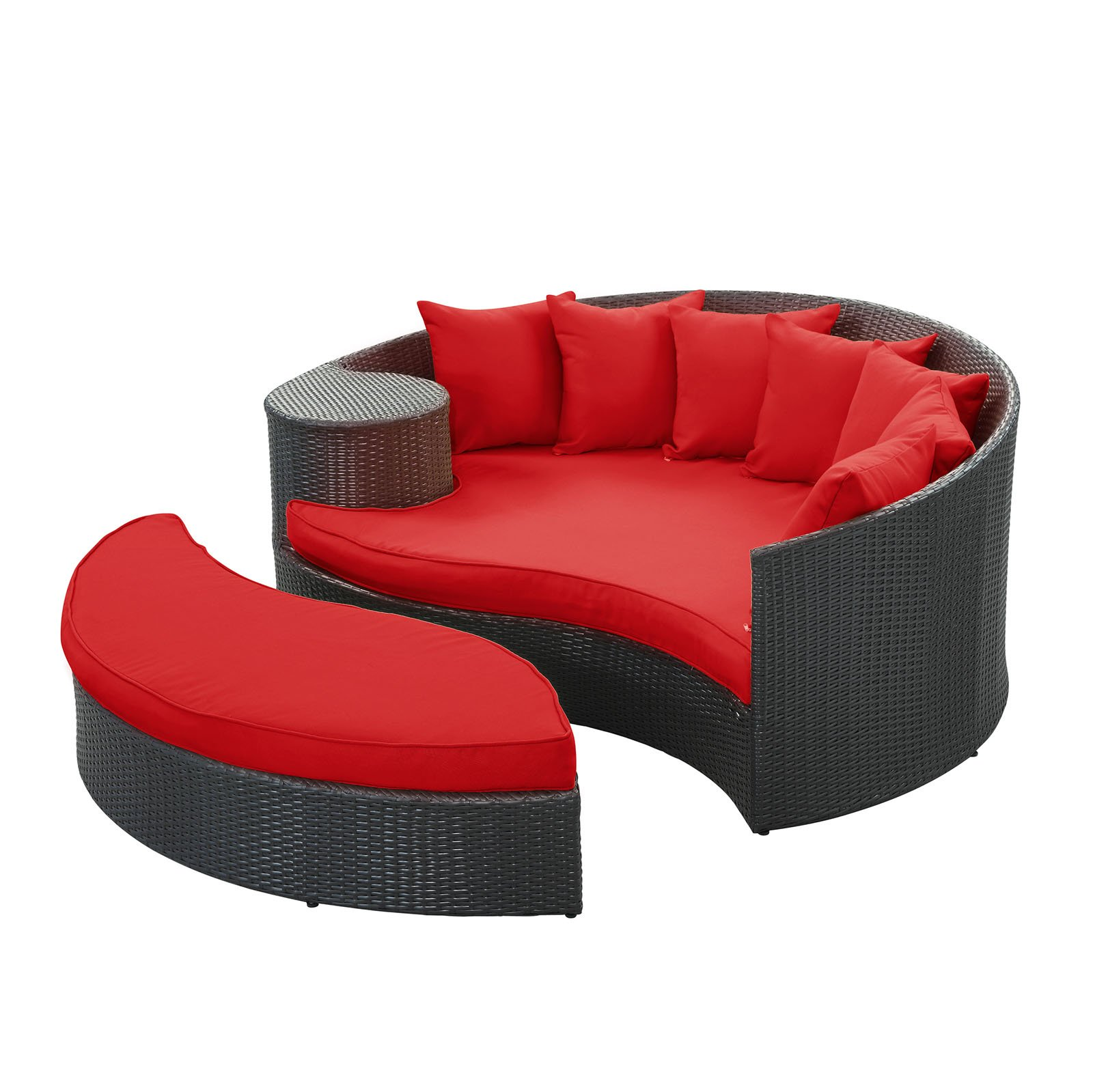 Modway Taiji Outdoor Wicker Patio Daybed with Ottoman in Espresso with Red Cushions