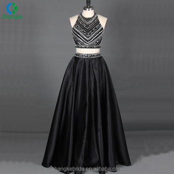 Y Halter Beaded Top Slinky Satin Skirt Two Piece Evening Party Prom Dress 2018 For Women Dresses