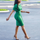 New Design Green Short Sleeve Round Neck Office Lady Bowknot Bandage Formal Dress Sexy Fashion Bodycon Dress