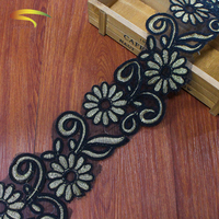 wholesale bulk african guipure 3d embroidery crochet 100% Polyester gold floral lace trims for bridal wedding