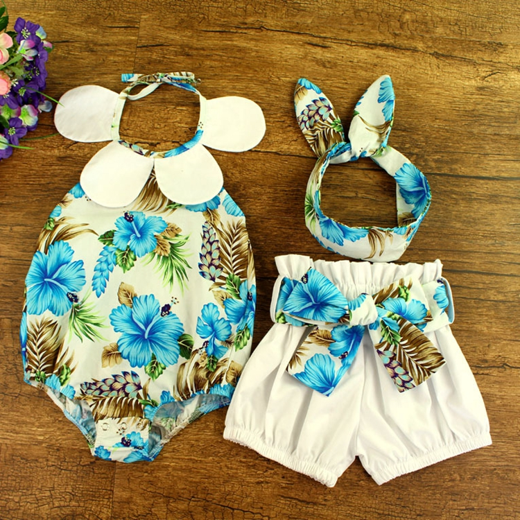 Boutique Blue Flower Printed Baby Romper and Shorts Fabric Belt for Children Clothing