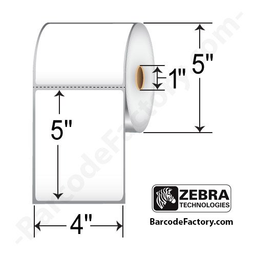 "Zebra Technologies 10015346 Z-Select 4000D Paper Label, Direct Thermal, Perforated, 4"" x 5"", 1"" Core, 5"" OD (Roll of 565, Case of 12 Rolls) (Pack of 12)"