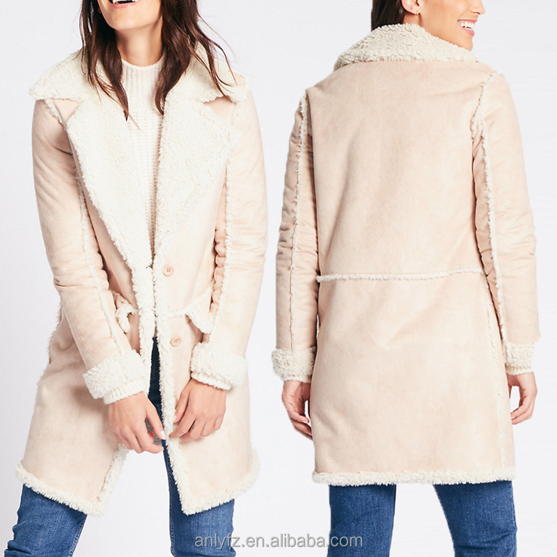 Hot sell high quality oversized fur overcoat women stylish winter wear shearing coat 2017