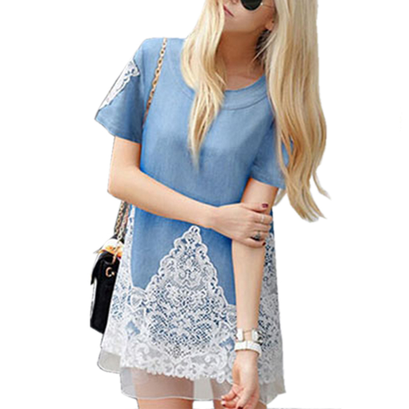 Casual  Women Denim Dress tshirt Dress Crochet Lace Patchwork  Short Sleeve O-neck  Summer  Dress 2015 Plus Size 5XL HSFS5138
