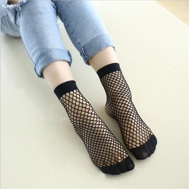Chic Streetwear kadın Harajuku Şeker Renk Nefes Fishnet Çorap. Seksi Oymak Ağları Çorap Bayanlar Tatlı Örgü Sox