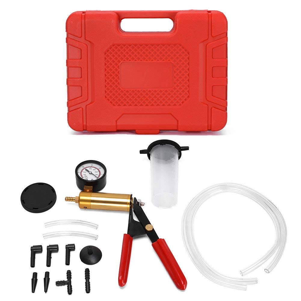Amzdeal Hand Held Brake Bleeder Vacuum Pump Test Tuner Kit Tools with Case Hoses Connector for Automotive