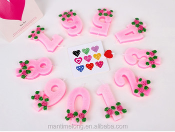 Rose Decorated Pink Cake With Gold Powder Numbers Age Candle Party Supplies Decoration