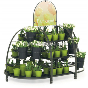 Factory Price Retail Shop Disassemble Floor Standing Free Design Metal Fresh Flower Pot Display Stand