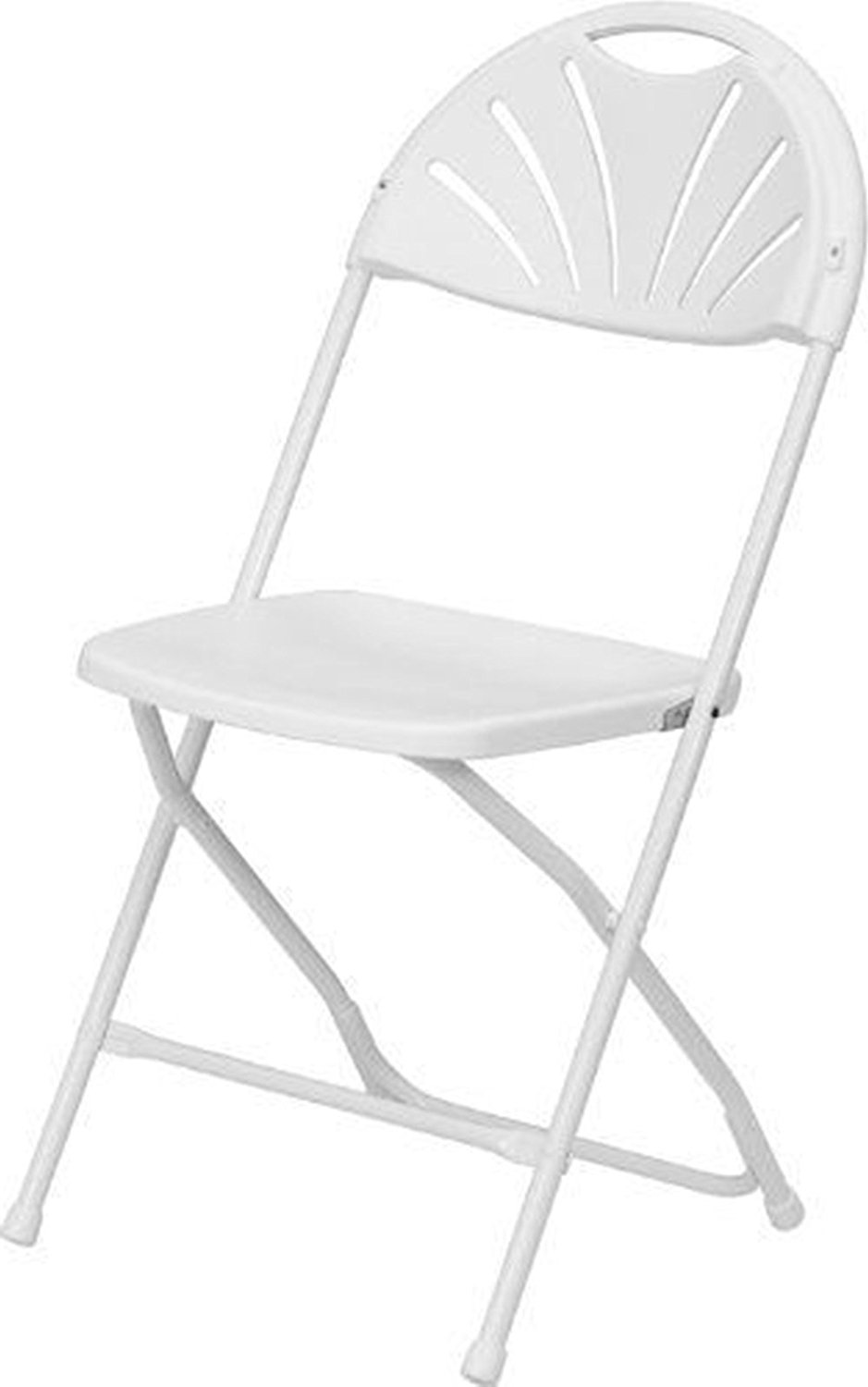 NEW sudden comfort folding chair Series 800 Lb. Capacity White Plastic Fan Back Folding Chair