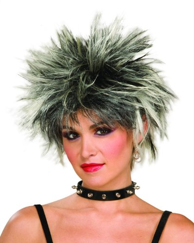 80's Spiked Punk Black and White Wig - Adult Std.