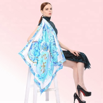 Customized pattern luxury design flower printed ladies twill silk scarves