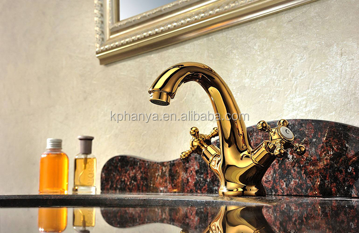 Luxury Basin Faucet Gold Basin Faucet with Double Handles Brass Basin Faucet Bathroom