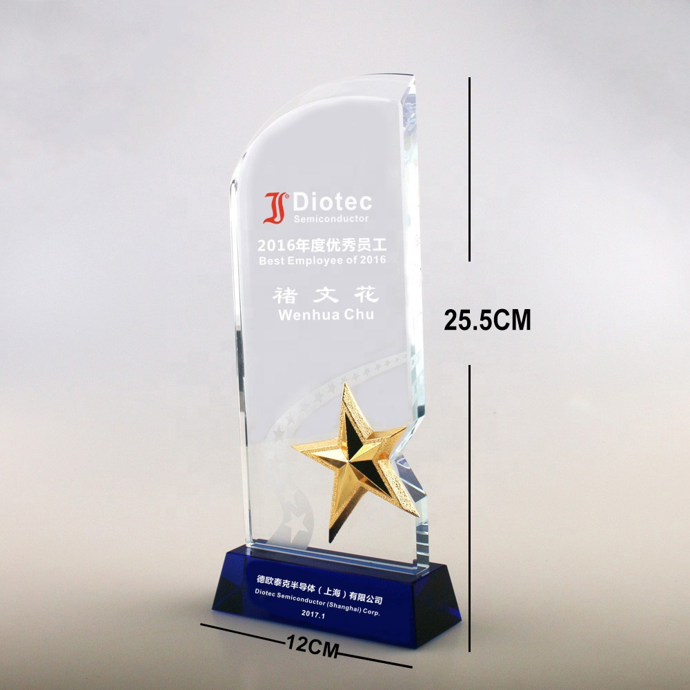 Creative new design business award souvenir customized competition prizes blue bottom high-end metal pentacle crystal trophy