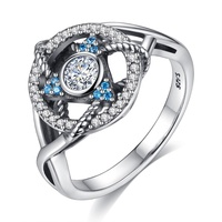 Custom Jewelry Diamond Finger Triangle shape Blue CZ 925 sterling silver ring