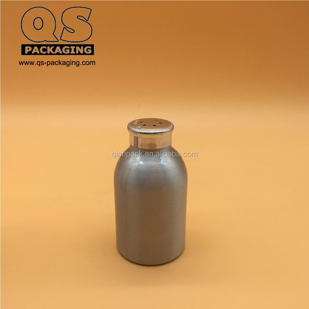 50ml empty silver aluminum bottle with talc powder cap