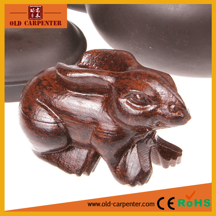 Zodiac Rabbit 6*4*3.5cm carving small animal wood sculpture