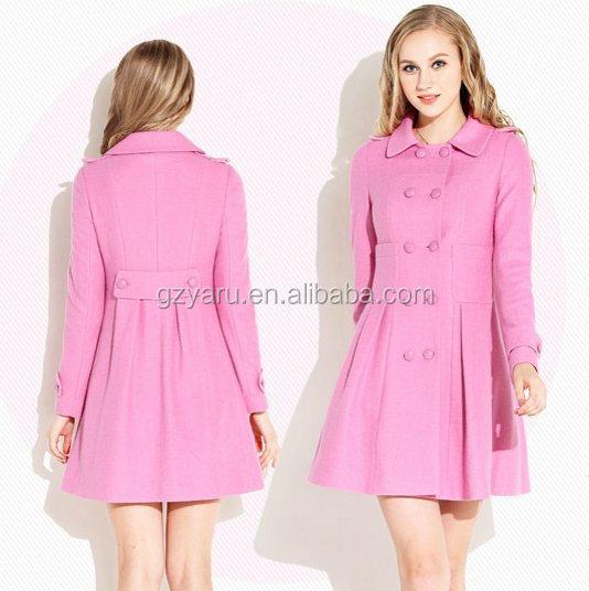 Korean Ladies Pink Fashion Outwear 2014 Women Wool Coat - Buy