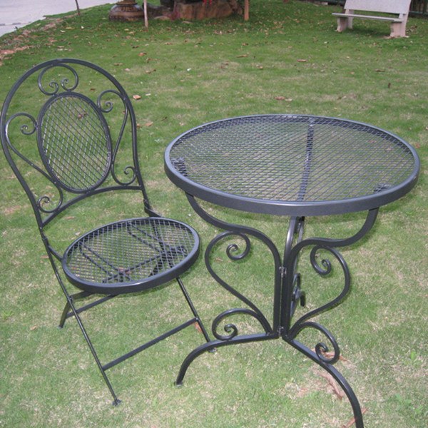 Hot Selling Shabby Chic Black Metal Mesh Patio Furniture