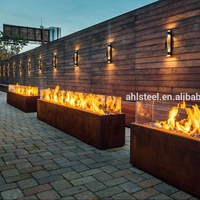 Large square corten steel metal gas fire pit outdoor