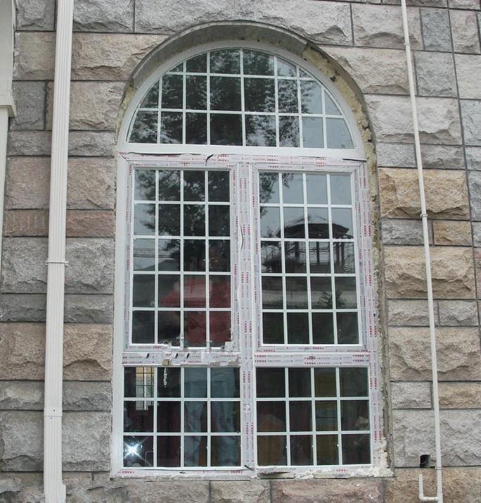 Chine Usine Meilleur Prix Pvc Fenêtre Cintrée Avec Grille En Verre
