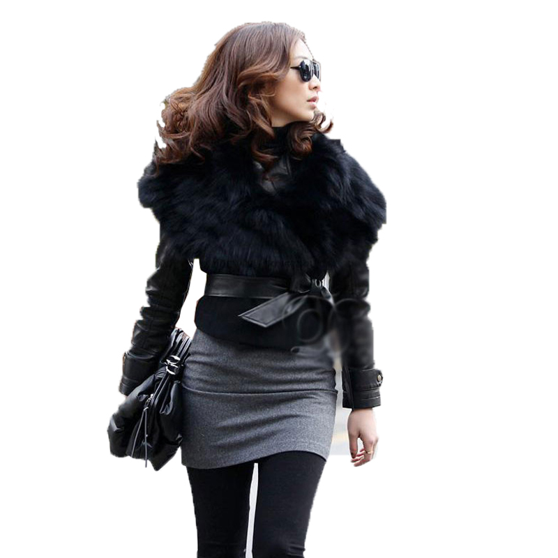 New 2015 Winter Vintage faux Fur Women Clothes Sleeveless Thicken Warm Outerwear Jacket PU Soft Leather Coat
