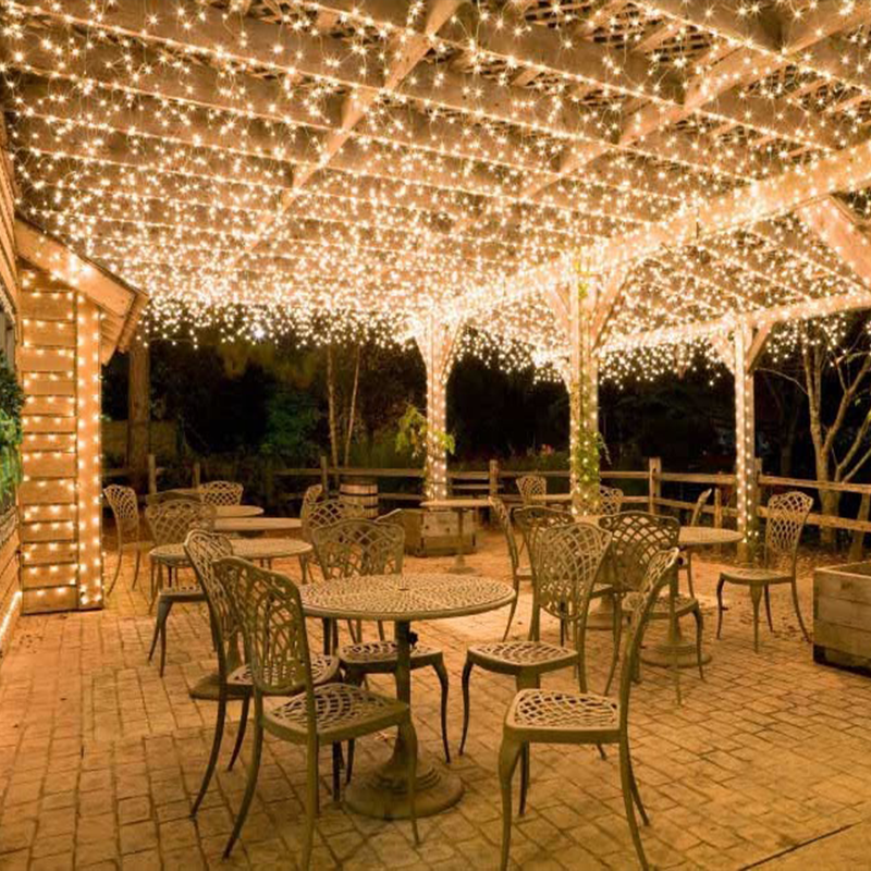 Outdoor garden event decorative LED ceiling warm white twinkle waterfall falling fairy lights