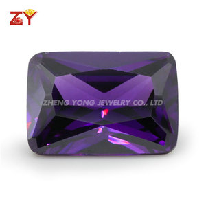 Rectangle Cut Cubic Zirconia Man Made Amethyst CZ