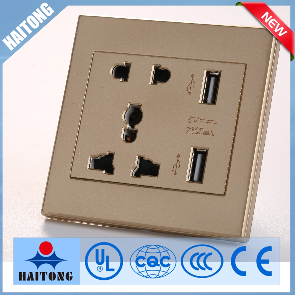 Electric Wall Light Switch With Double Usb Hole For Home The Gold ...