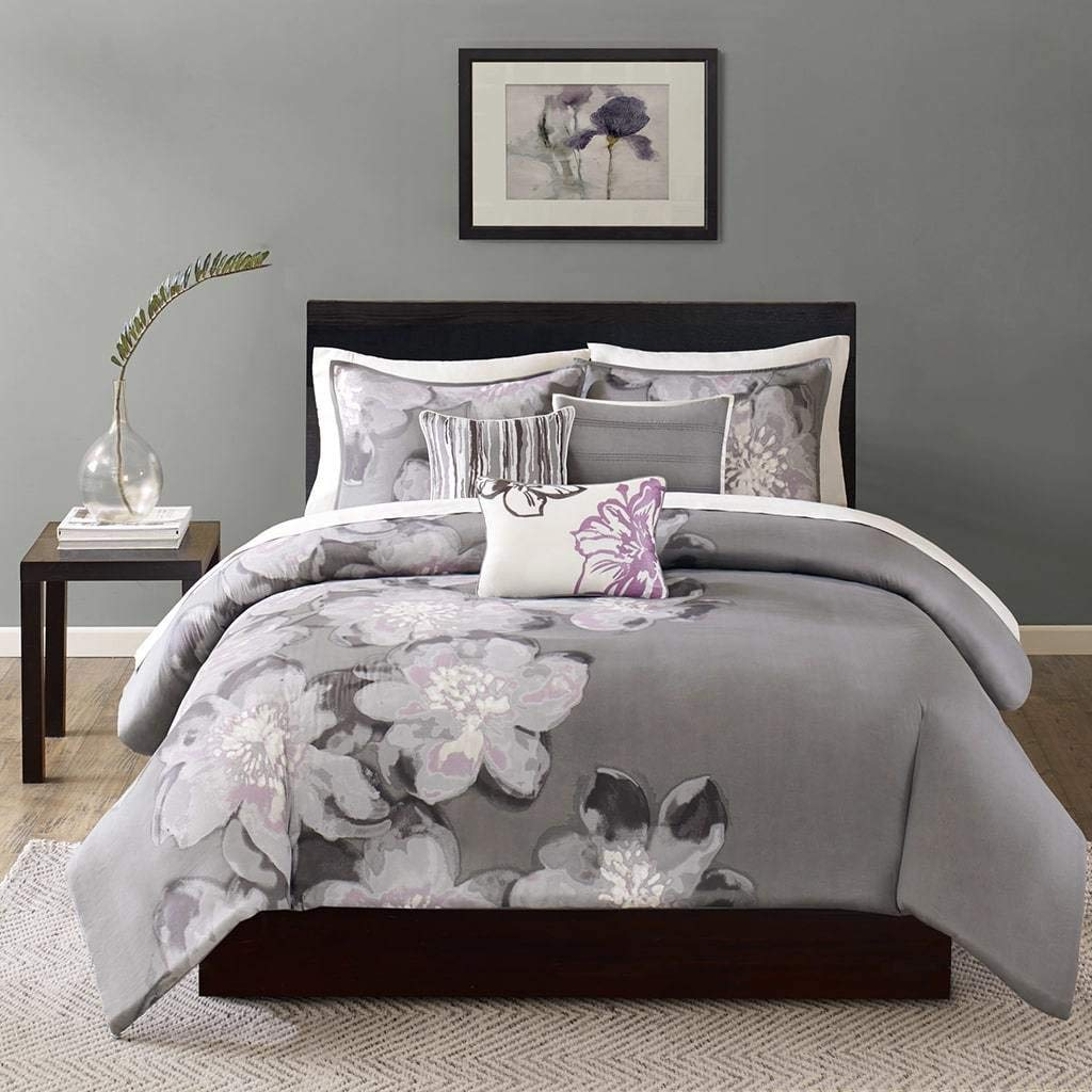 6 Piece Grey Floral Queen Size Duvet Cover Set, Beautiful Stylish Purple White Flowers Nature Theme Reversible Bedding Soft Spring Vibrant Color Lake House Cottage Themed Gray, Cotton, Sateen Cotton