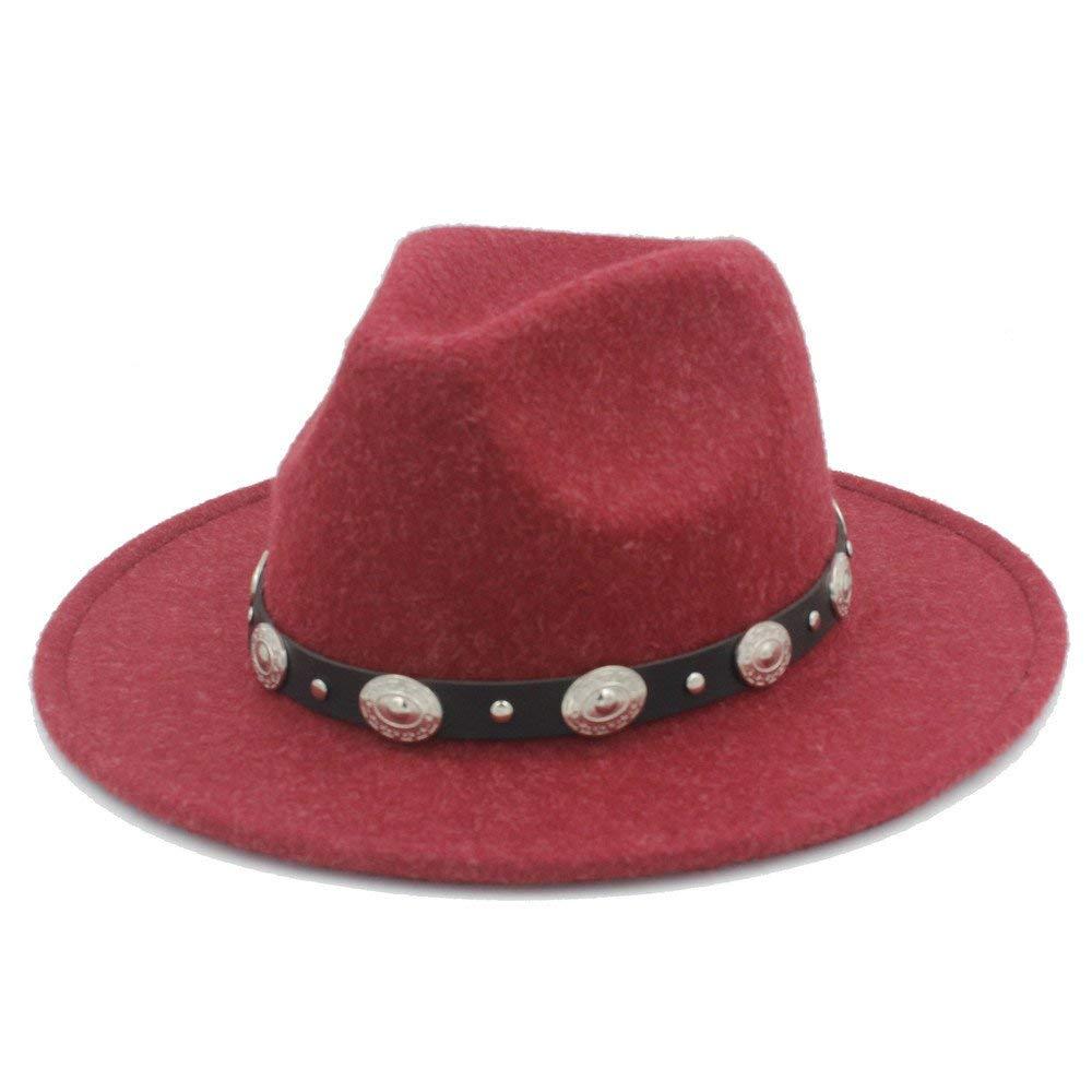 7c487be9fe1 Get Quotations · HHF Hats   Caps 100% Wool Men s Women s Winter Autumn Fedora  Hat With DIY Punk