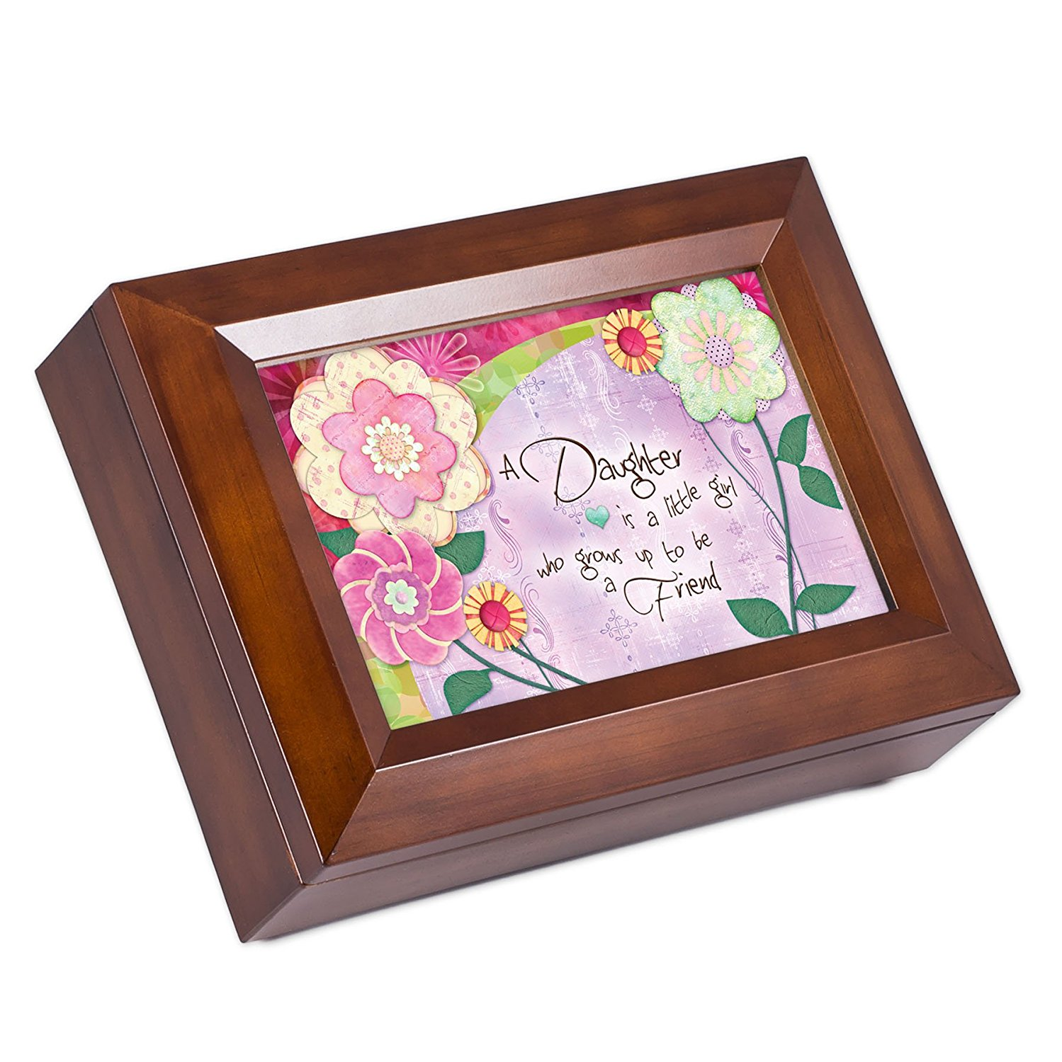 Daughter A Little Girl Who Grows Up To Be A Friend Wood Finish Jewelry Music Box You Are My Sunshine