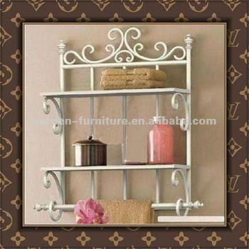 Decorative Wrought Iron Towel Racks Metal Bath Wall Holder Shelf ...