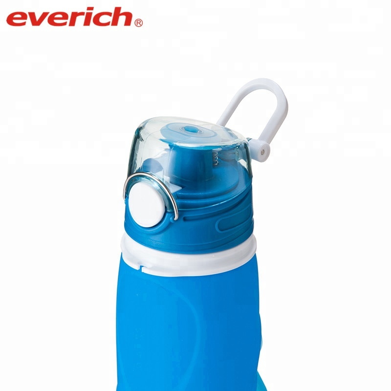 Custom LOGO soft silicone collapsible water bottle with foldable body