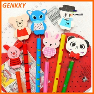 Cute colorful wood pencil with animal character on the top