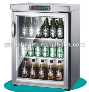 Hotel Bar Fridge Stainless Steel Glass Doors Table Top Display