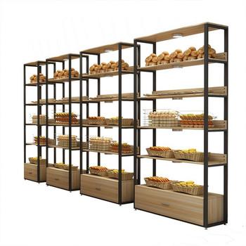 Metal Wooden Food Bread Shelves Display Rack Cabinet Display Stand - Buy  Bread Display Stand,Food Bread Display Rack,Bread Shelves Display Rack