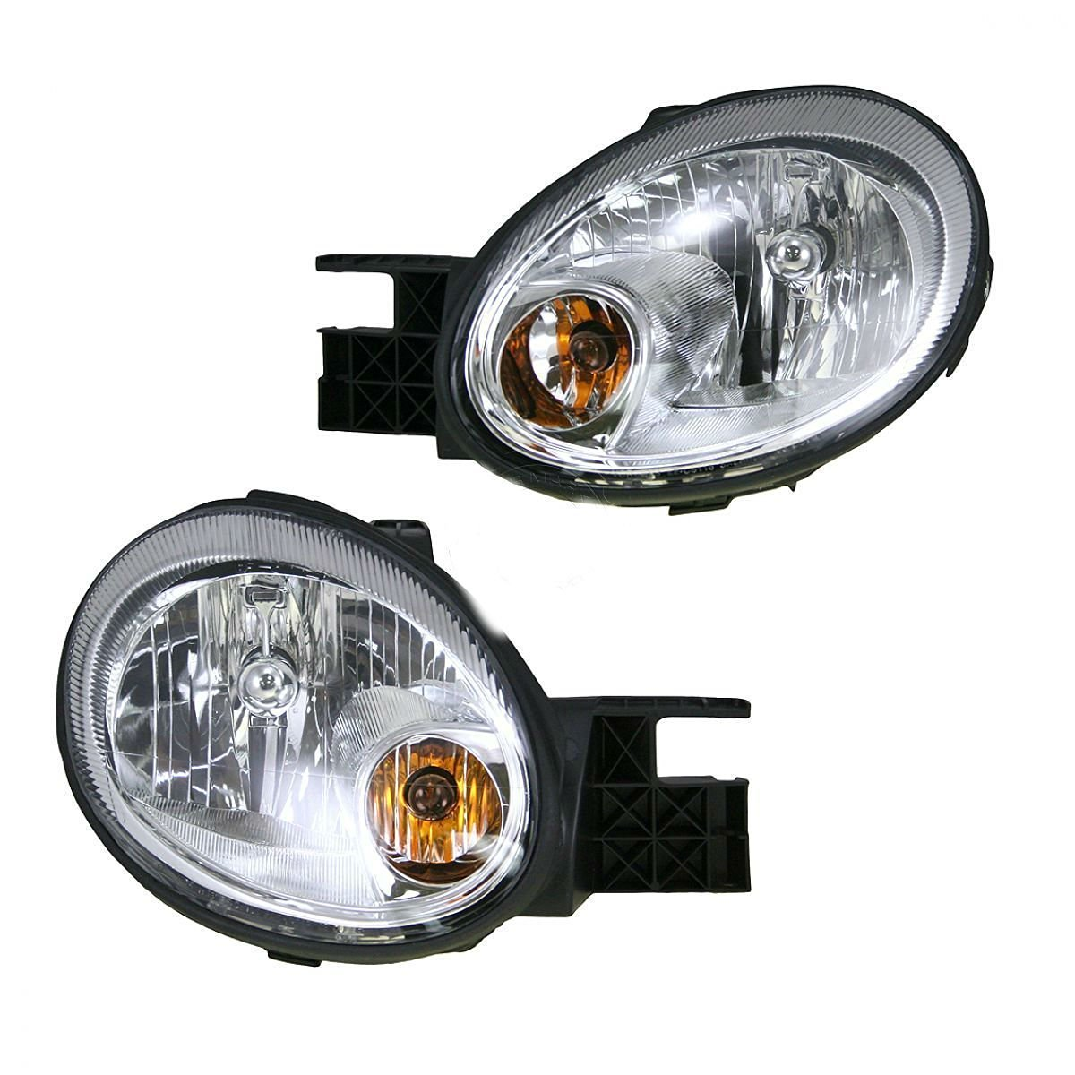 Headlights Headlamps w/ Chrome Bezel Left & Right Pair Set for 03-05 Dodge Neon