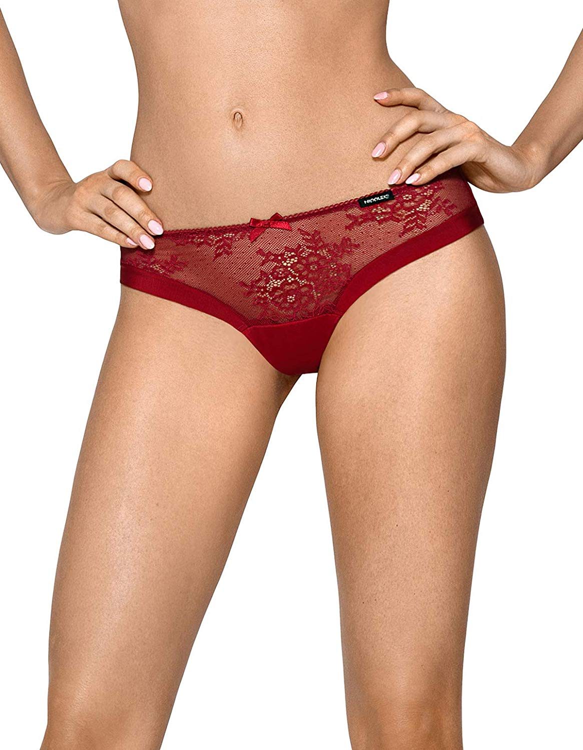 43bf96f0391c Get Quotations · Nipplex Women's Isabelle Maroon Red Lace Panty Thong