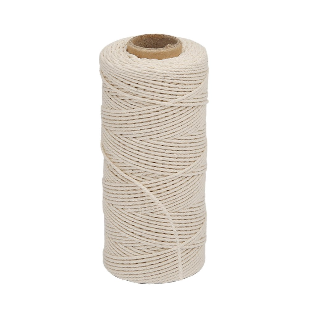 Vivifying 328 Feet 3Ply Cotton Bakers Twine, Food Safe Cooking String for Tying Meat, Making Sausage (White)