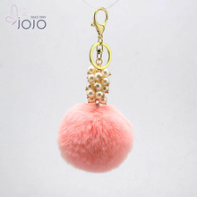 High Quality Novelty Charm Rabbit Ball Fur Key Chain For Gift
