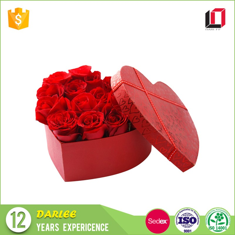 New product high quality wedding valentines heart shape luxury flower box