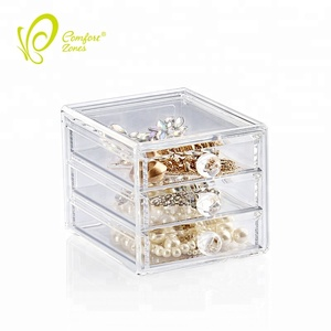 Perfect quality acrylic 3 drawers storage box small makeup vanity box for cosmetic
