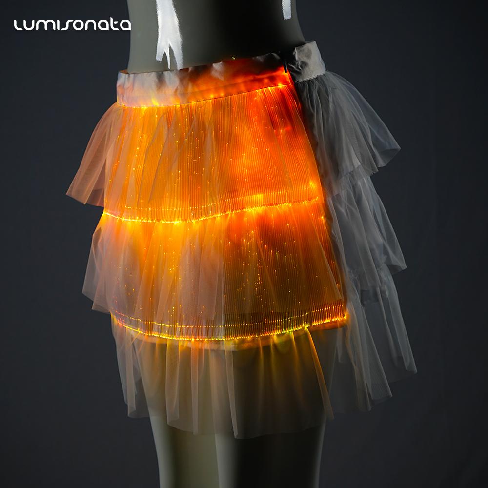 Baisdan LED Skirt Costume Belly Dance Long Swing Skirt Festival Club LED Lights Skirt