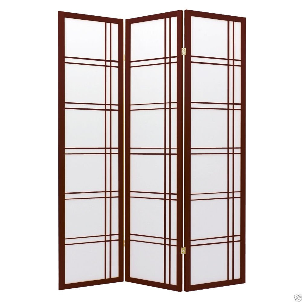 1PerfectChoice 3 Folding Panels Wood Shoji Room Divider Screen Oriental Traditional Line Option Color Cherry