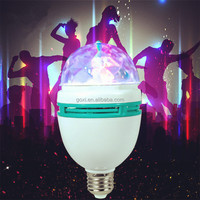 3W E27 music active led bulb RGB color rotated led light party lamp led stage disco light bulb